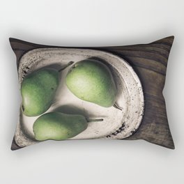 Three Pears in a Metal Plate Rectangular Pillow