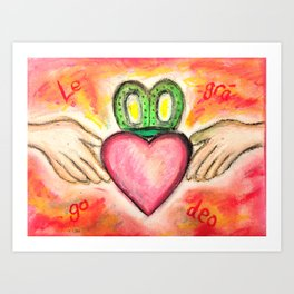 Irish Valentine Wedding Anniversary, Claddagh oil pastel card With Love Forever Art Print