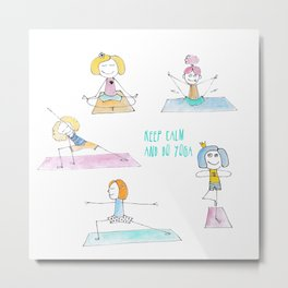 Funny watercolor drawing set of a happy girls in the yoga positions. Metal Print