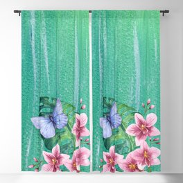 Butterfly with Orchids and Monstera Blackout Curtain