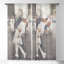 The Kiss,VJ Day, WWII Sheer Curtain