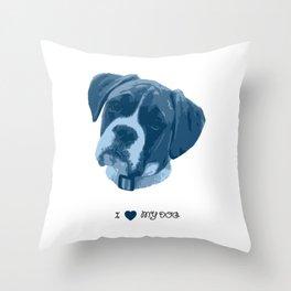 I love my dog - Boxer, blue Throw Pillow