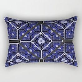 Cherokee Rose Pattern 2 royal blue and black Rectangular Pillow