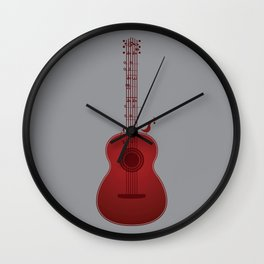 Classical Notation - Cherry Red Wall Clock