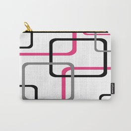 Geometric Rounded Rectangles Collage Pink Carry-All Pouch