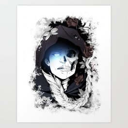 Watcher on the Bridge, witch illustration with skull and roses Art Print