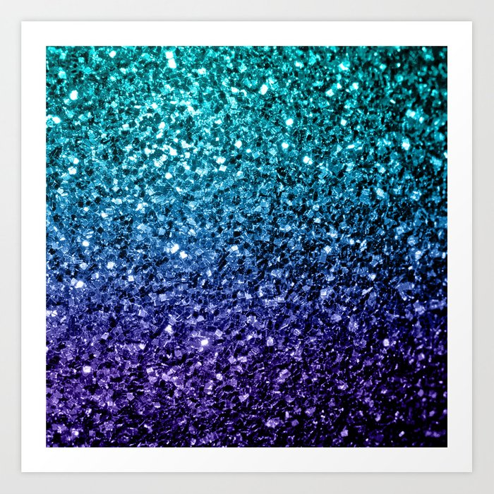 Beautiful Aqua Blue Ombre Glitter Sparkles Art Print By