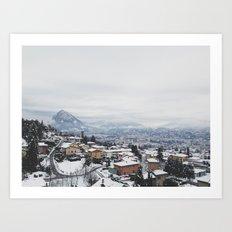 Lugano in snow, Switzerland Art Print