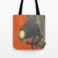 bioshock Tote Bags featuring SongBird - BioShock Infinite by LindseyCowley