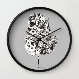 Fantasy Tree in black and white Wall Clock