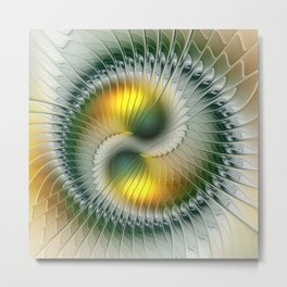Like Yin and Yang, Abstract Fractal Art Metal Print
