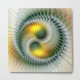 Like Yin and Yang, Abstract Fractal Art Metal Print