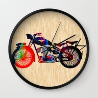 motorcycle Wall Clocks featuring Motorcycle by marvinblaine
