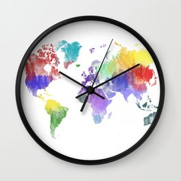 Colorful world map Wall Clock