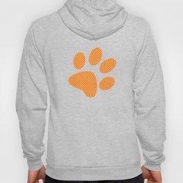 Tiny Paw Prints Pattern - Bright Orange & White Hoody