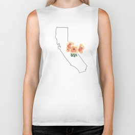 california // watercolor california poppy state flower map Biker Tank