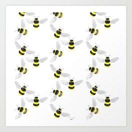 Fuzzy Bumblebees Art Print