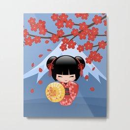 Japanese Red Sakura Kokeshi Doll on Blue Metal Print
