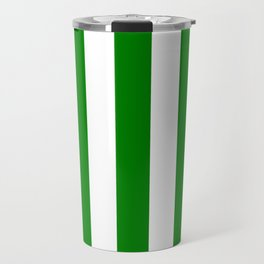 Green (HTML/CSS color) - solid color - white vertical lines pattern Travel Mug