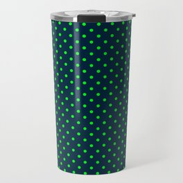 Mini Navy and Neon Lime Green Polka Dots Travel Mug