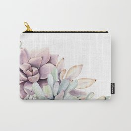Desert Succulents on White Carry-All Pouch