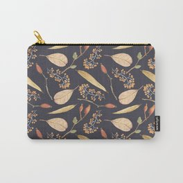 Rustic gray brown Autumn colors floral Carry-All Pouch