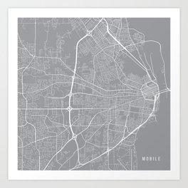 Mobile Map, Alabama USA - Pewter Art Print