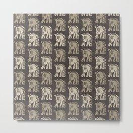 Mid Century Horse Pattern Neutral Metal Print