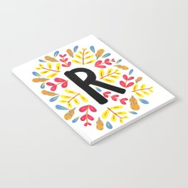 Letter 'R' Initial/Monogram With Bright Leafy Border Notebook