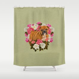English Bulldog Puppy with flowers Shower Curtain