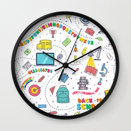 Concept of education seamless pattern Wall Clock