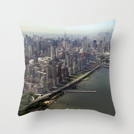 New York City near the river Throw Pillow