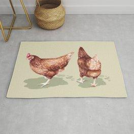 I love Chickens - Watercolor illustration Rug