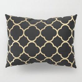 Elegant geometrical black faux gold quatrefoil Pillow Sham