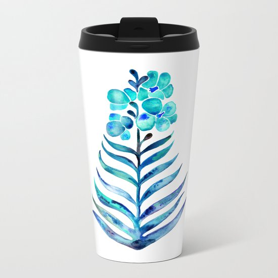 Blooming Orchid – Navy & Turquoise Palette Metal Travel Mug