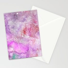 Purple Galaxy  - Watercolor Galaxy Painting Laced with Stars Stationery Cards