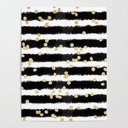 Modern black watercolor stripes chic gold confetti Poster