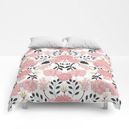 Pink, White, Black, Blue & Yellow Elegant Floral Pattern Comforters