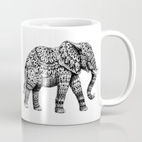 bioworkz Mugs featuring Ornate Elephant 3.0 by BIOWORKZ