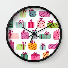 Colorfully Wrapped Christmas Presents Wall Clock