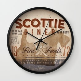 Scottie Diner vintage style graphic dog kitchen artwork by Stephen Fowler Wall Clock