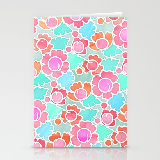 Pastel Tropical Floral Pattern Design with watercolor texture Stationery Cards