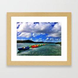 Caribbean Kayaks on a Line - Antigua & Barbuda Framed Art Print