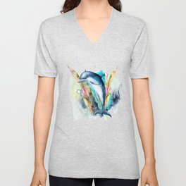 Watercolor Under Sea Collection: Dolphin Unisex V-Neck