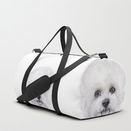Bichon illustration, Dog illustration original painting print Duffle Bag