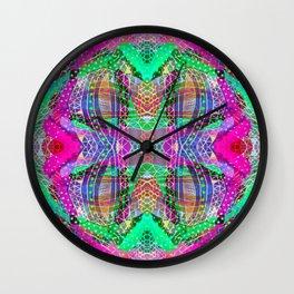 Green Fuchsia Kaleidoscope Wall Clock