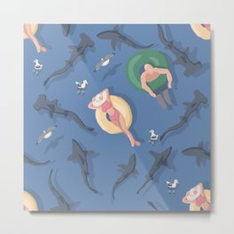 Sharks in the water Metal Print