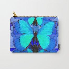 DECORATIVE BLUE SATIN BUTTERFLIES YELLOW PATTERN ART Carry-All Pouch