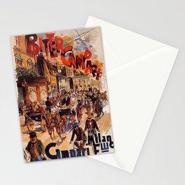 Vintage 1894 Bitter Campari Street Scene Advertisement by G. Mora Stationery Cards