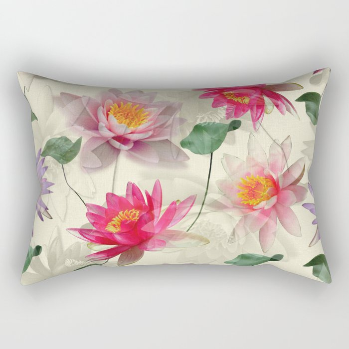 Lotus Flower Pattern Rectangular Pillow